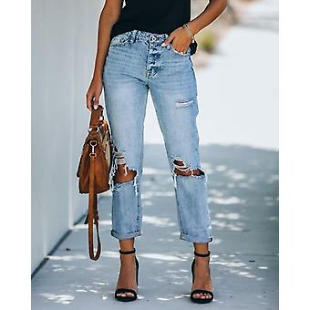 Autumn Winter Streetwear Frayed Denim Jeans