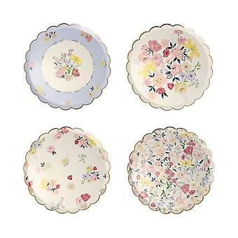 Meri Meri English Garden Small Floral Side Plates x 8 Tea Party