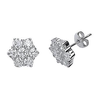 Jewelco London Ladies Rhodium Banhado Sterling Silver Cubic Zirconia Classic Cluster Stud Brincos