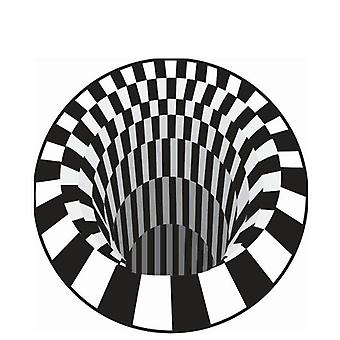 3d-vortex, Black & White Grid Bottomless Hole, Illusion Rug Carpet
