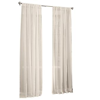La Linen Sheer Voile Drape Panel 118-Inch Wide By 48-Inch High, Ivory