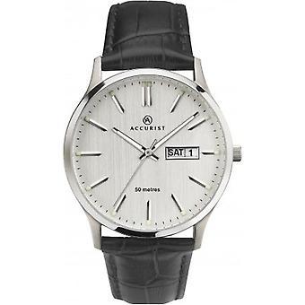 Accurist 7233 Stříbrná a černá kůže Pánské hodinky