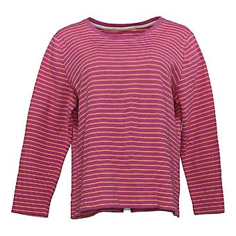 Isaac Mizrahi Live! Women's Top Essentials Scoop-Neck Striped Pink A385423