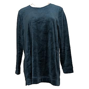 Denim & Co. Mulheres's Top Velour Long-Sleeve Tunic W/ Pockets Green A390299