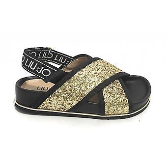 Children's Shoes Liu-jo Sandalo Cleo 42 Glitter Black/ Gold Zs21lj21 4a1785