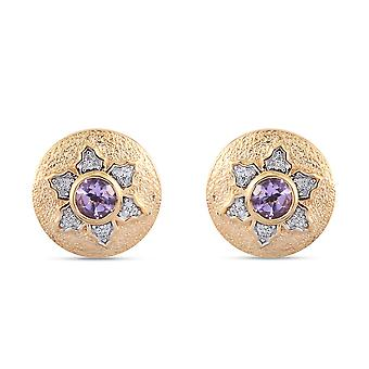 GP Ruby/Amethyst, White Zircon Stud Earrings Gold Plated Silver Gift for Her