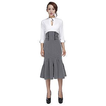 Chic Star 1940s inspirado en el vestido wiggle en blanco / gris / raya