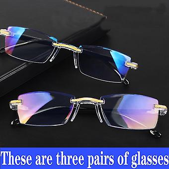 Blue Ray Reading Glasses Men Women Rimless Cutting
