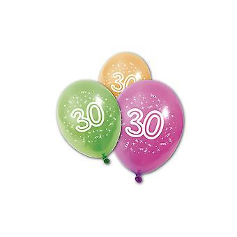 8 Verjaardag latex ballonnen 30 jaar 30 cm