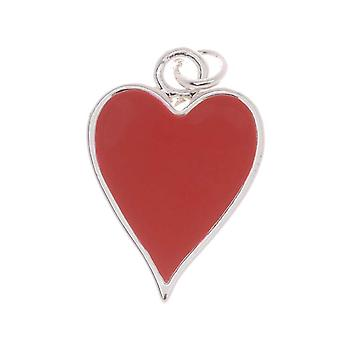 Silver Plated With Enamel Red Hearts Playing Card Suit Charm 19mm (1)