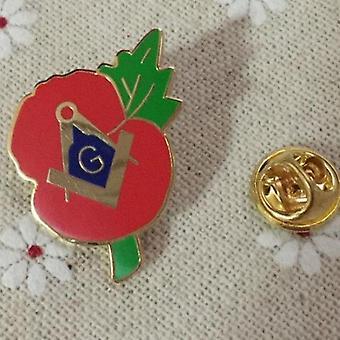 Masonic square compass g crested poppy lapel pin