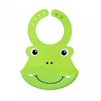 Roly Poly Bib 6m+ Animal Face Bibs Comfy Neck Catch Soft-Flex Material, Green