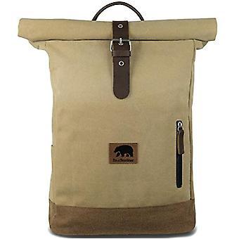 I'm a Bearliner - Rolltop Rucksack aus Baumwoll- und Lederleinwand Rucksack Daypack für den täglichen Gebrauch in einfarbigen Herren und Frauen