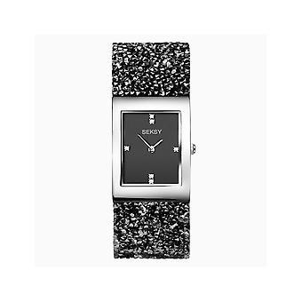 Seksy dames Seksy rotsen 2573 rechthoekige zwarte wijzerplaat zilveren bezel Swarovski kristallen armband horloge