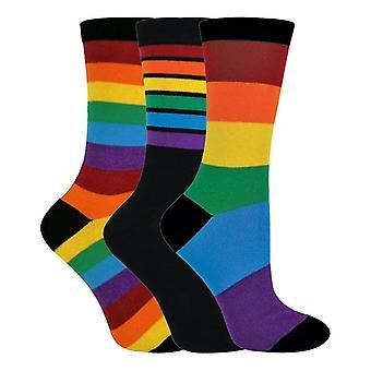 3 Pk kids meias de arco-íris listradas