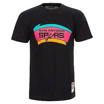 ミッチェル&ネス NBAサンアントニオスパーズネオンロゴBMTRINTL931SASBLCKユニバーサルオールイヤーメンTシャツ
