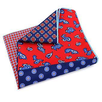 Punainen & sininen 4 neljännes Paisley suuri 33cm tasku neliö