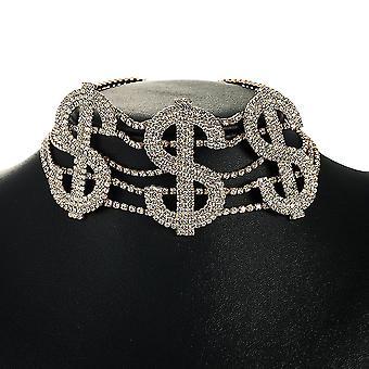Women Necklace Dollar Symbol Alloy Diamond Rhinestone Sweater Chain For Exhibition