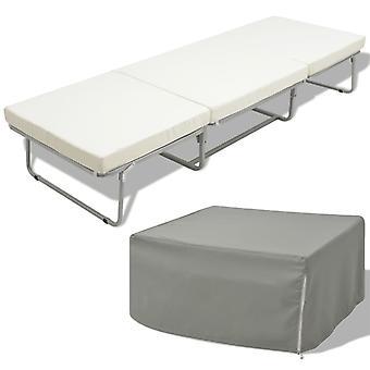 vidaXL folding bed with mattress White Steel 70×200 cm