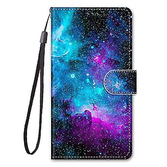 Case For Xiaomi Redmi Note 10s Painted Leather Cover Magnetic Closure Galaxy