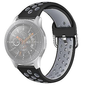 Cinturino in silicone bicolore per Galaxy Watch S3 46mm / Huawei GT 1/2 Taglia 22mm L Grigio Nero
