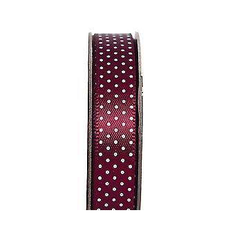 LAST FEW - 3m Cabernet Red 10mm Wide Polka Dot Satin Craft Ribbon