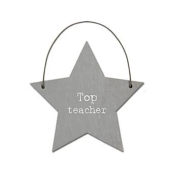 Top Teacher - Mini Wooden Hanging Star - Cracker Filler Gift