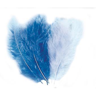 15 geassorteerde blauwe pluizige veren voor ambachten