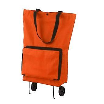 (Orange) Folding Letvægts Marked Hjul Indkøbsvogn Taske Push Cart Bagage Taske