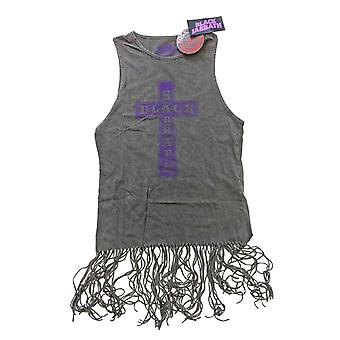 Винтаж жилет черного Sabbath крест логотип официальные женские платья Топ с кистями