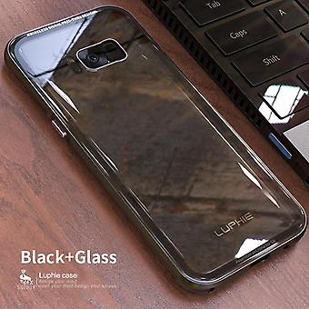 Luphie Phone Case Metal Frame 9h Tempered Glass Back Cover For Samsung Phone