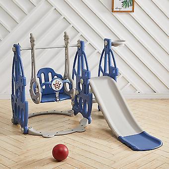 Blaues Kleinkind Slide Swing Set Dampfschiff Form Spielzeug W / Eisen Derricks Outdoor Indoor