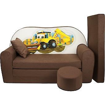 Kinder slaapbank set - logeermatras - sofa - 170 x 100 x 8 - slaapbank - licht bruin - graafmachine