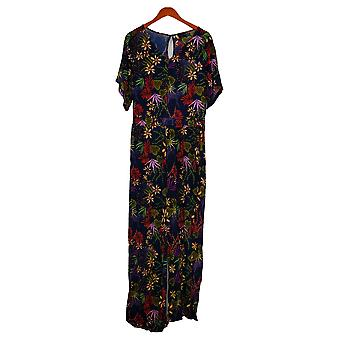 Curations Jumpsuits Printed Knit Waistband V Neck Blue 699253