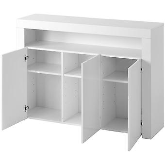 High Gloss White Sideboard Display Cabinet With  3-door Wood Buffet Cupboard Storage