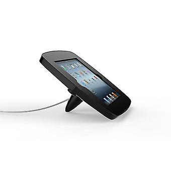 Tablet-tietokoneen telakat seisovat lounge-tabletin turvakotelo mustana