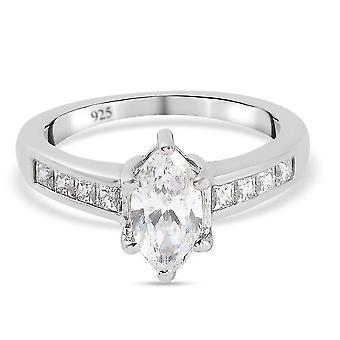 Verlobung Solitär Ring Swarovski Zirkonia Damen Platiniert Silber 2.37ct(O)