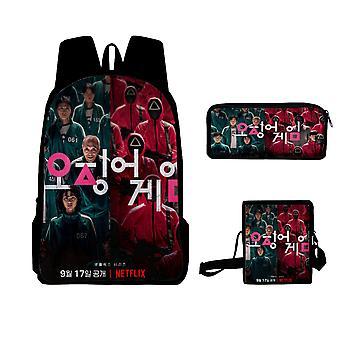 Tintenfisch Spiel Rucksack Umhängetasche mit Federmäppchen 3 in 1 des koreanischen Dramas Rucksack