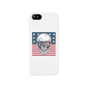 スカル アメリカン フラグ白い携帯電話ケース