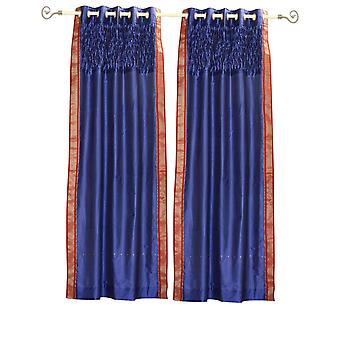 Azul Panel de cortina ojal superior pura Sari con la mano cuentas diseño - pieza