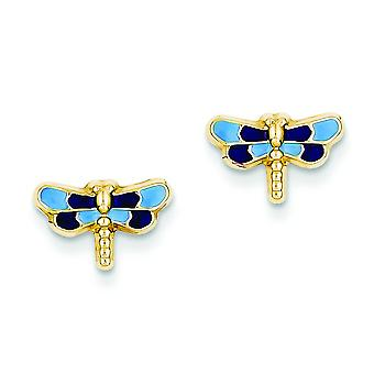 14k Yellow Gold Flat back Post Earrings Enameled Dragonfly for boys or girls Earrings - Measures 11x8mm