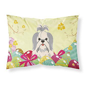 Easter Eggs Shih Tzu Silver White Fabric Standard Pillowcase