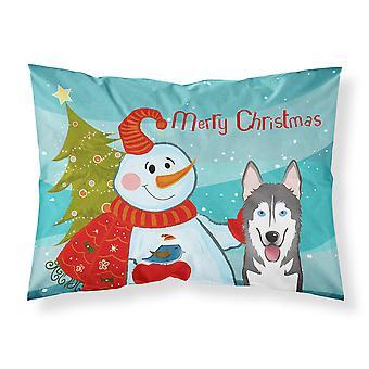 Snowman with Alaskan Malamute Fabric Standard Pillowcase