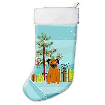 Merry Christmas Tree Border Terrier Christmas Stocking