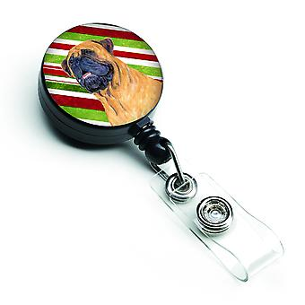 Mastiff Candy Cane Holiday Christmas Retractable Badge Reel