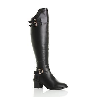 Ajvani Womens Mitte Block Heel Zip Schnallen Westernreiten über die Knie Stiefel