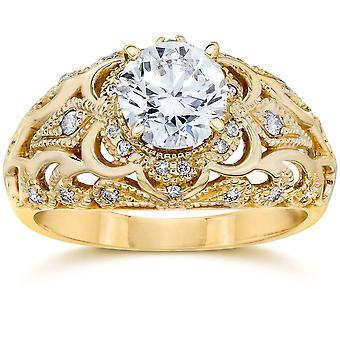 Emery .75Ct Vintage Diamond antiken Engagement 14K Gelbgold