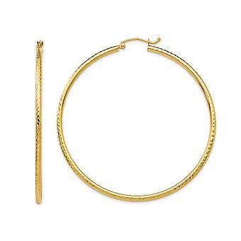 14K Yellow Gold Large Diamond Cut Hoop Earrings 2 Inch (2.00 mm)