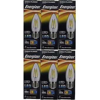 6 X Energizer LED Filament Candle ES E27 4W = 40W 470lm Warm White Screw Cap Bulb  [Energy Class A+]
