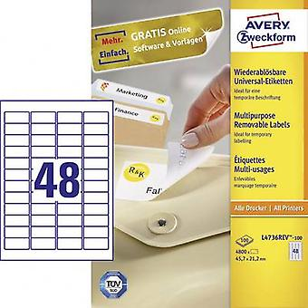 Avery-Zweckform L4736REV-100 Labels 45,7 x 21,2 mm Paper White 4800 pc(s) Verwijderbare All-purpose labels Inkjet, Laser, Copier 100 Sheet A4